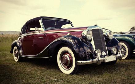 Dark vintage retro car in the field