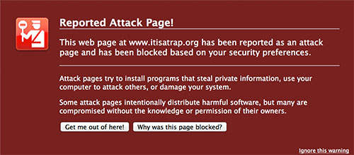 Page reported as dangerous - screenshot from firefox