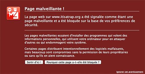 Firefox indique qu'un site est dangereux - capture d'écran