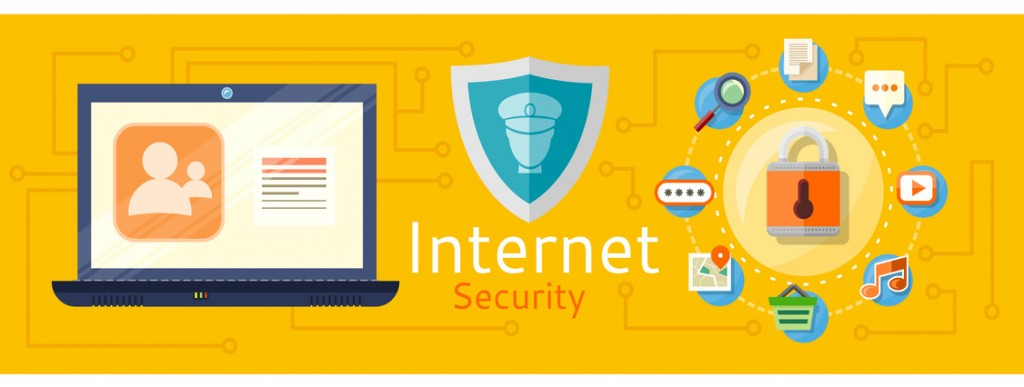 Illustration of computer internet security. Web images antivirus. Concept in flat design style. Can be used for web banners, marketing and promotional materials, presentation templates