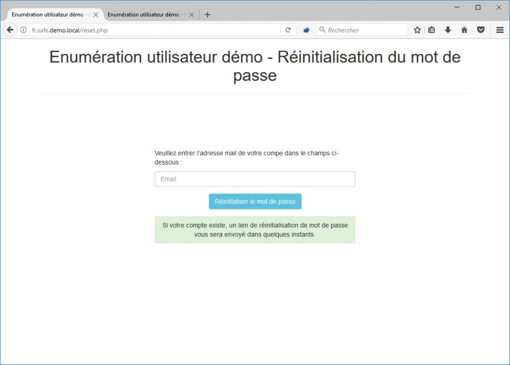 Réinitialisation de mot de passe - pas d'énumération