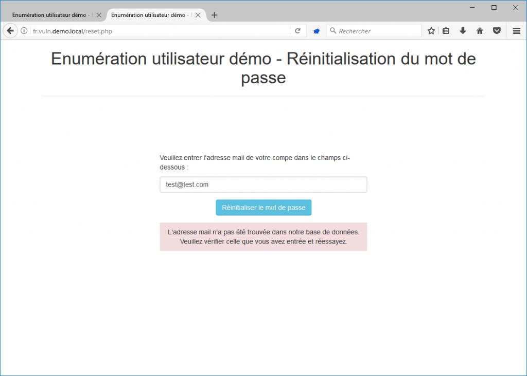 Réinitialisation de mot de passe - énumération