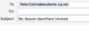 Capture d'une réponse à un email, pour lequel l'adresse email n'est pas celle de Peter Collins