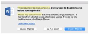 Word window asking to enable macros