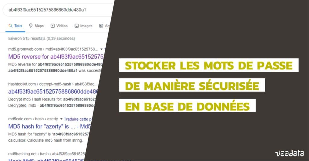 Stocker mots de passe database