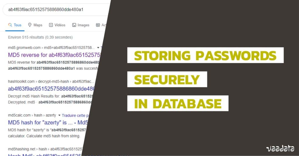Storing passwords database