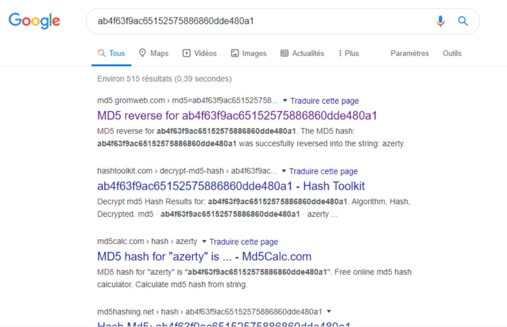 Searching md5 hash in google